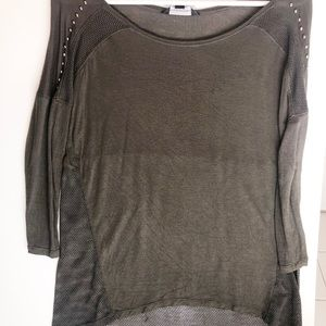 Army green t-shirt with metal embellishments